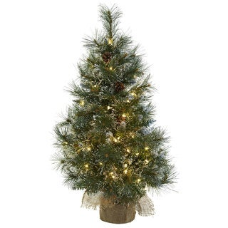 3 ft Christmas Tree w/Clear Lights, Frosted Tips, Pine Cones & Burlap Bag