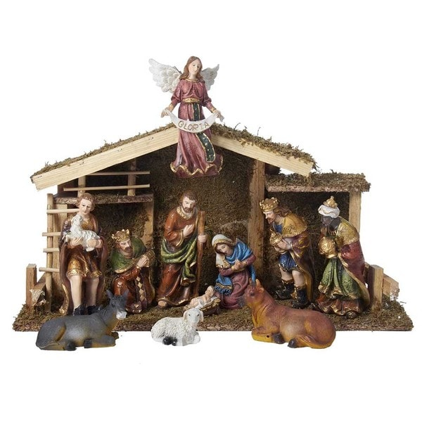 Shop Kurt Adler 12-piece Nativity Set With Wooden Stable