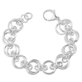 Fremada Sterling Silver High Polish Double Circles Link Adjustable Bracelet (8.5 inches)