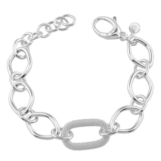 Fremada Sterling Silver Textured Oval and High Polish Diamond-shaped Link Adjustable Bracelet