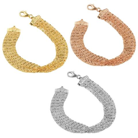 Fremada Gold Over Sterling Silver Multi-strand Bead Link Bracelet