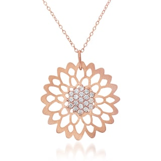 Collette Z Rose Goldplated Sterling Silver Cubic Zirconia Matte Flower Lace Necklace