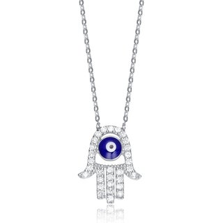 Collette Z Sterling Silver Blue and White Cubic Zirconia Hamsa Necklace
