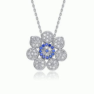 Collette Z Sterling Silver White and Blue Cubic Zirconia Flower Shape Necklace