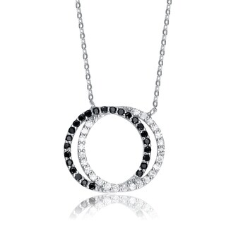 Collette Z Sterling Silver Black and White Cubic Zirconia Double Circle Necklace