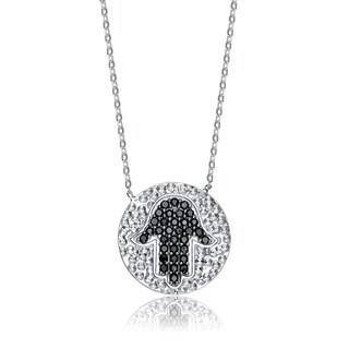 Collette Z Sterling Silver Black Cubic Zirconia Round Hammered Hamsa Necklace