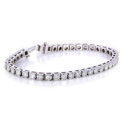 Annello by Kobelli 10k White Gold 10 Carats TGW Moissanite (HI) Tennis Bracelet (7 inches)