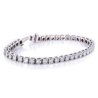 Annello by Kobelli 10k White Gold 10 Carats TGW Moissanite (HI) Tennis Bracelet (7 inches)
