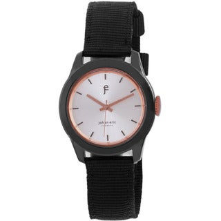 Johan Eric Men's Naestved Sporty Black IP Stainless Steel and Canvas Strap Watch