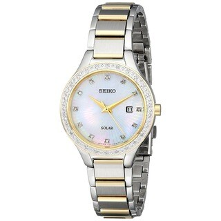 Seiko Dress Women's Solar SUT136 Mother of Pearl and Diamond Two-tone Watch