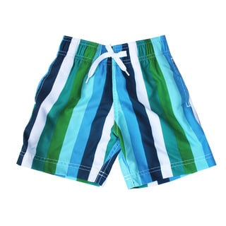 Azul Swimwear Boys 'Line Up!' Green Striped Swimshorts