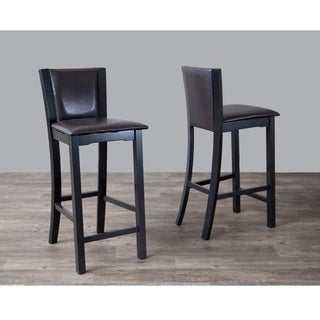 Traditional Dark Brown Faux Leather Bar Stool by Baxton Studio