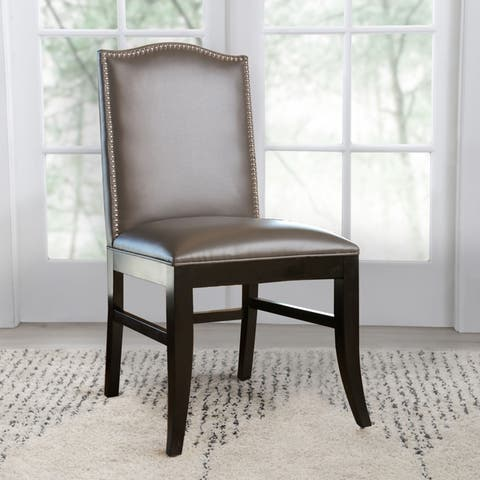 Abbyson Stacy Leather Nailhead Trim Dining Chair