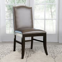 Abbyson Stacy 18-inch Leather Nailhead Trim Dining Chair