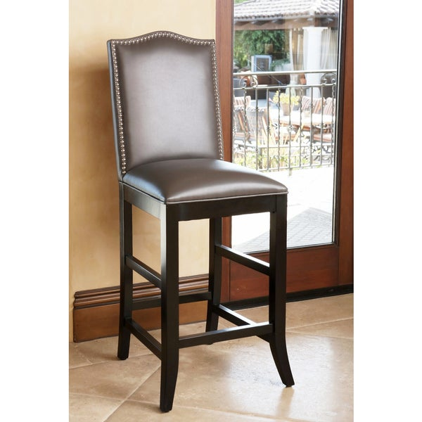 Abbyson stacy 28 inch grey leather nailhead trim barstool free shipping today - Leather bar stools with nailhead trim ...