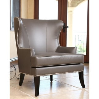 ABBYSON LIVING Charles Grey Leather Nailhead Trim Armchair
