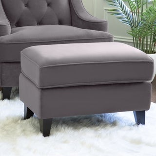 ABBYSON LIVING Claridge Dark Grey Velvet Fabric Ottoman