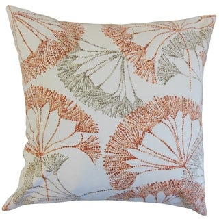 Grove Persimmon Floral 18-inch Feather Filled Throw Pillow