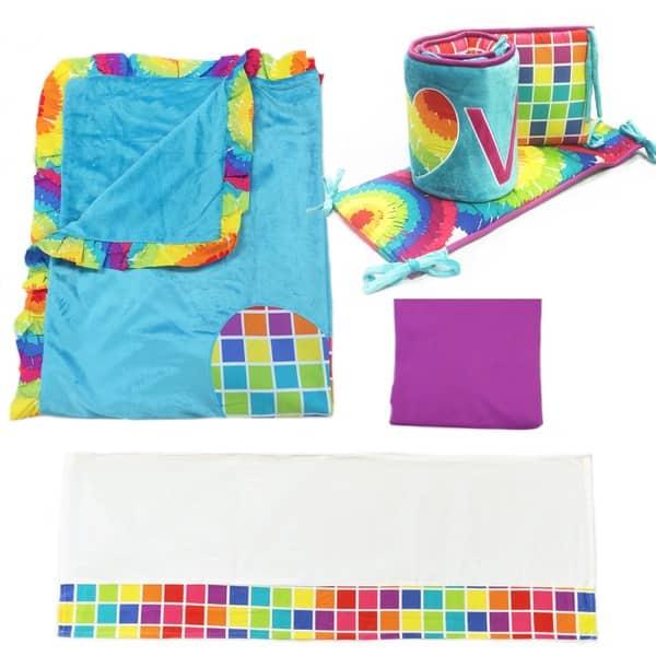 Tie Dye 4 Piece Crib Bedding Set
