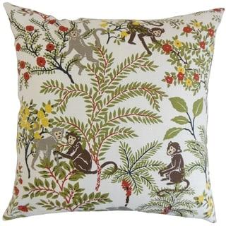 Fiametta Multi Foliage 18-inch Feather Filled Throw Pillow