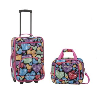 Rockland Hearts Polyester 2-piece Luggage Set