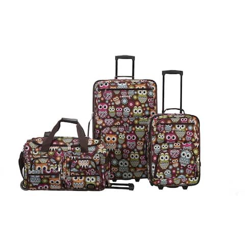 Rockland Owl 3-piece Polyester Luggage Set