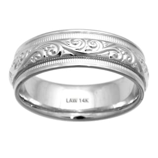 14k White Gold Comfort-fit Paisley Wedding Band