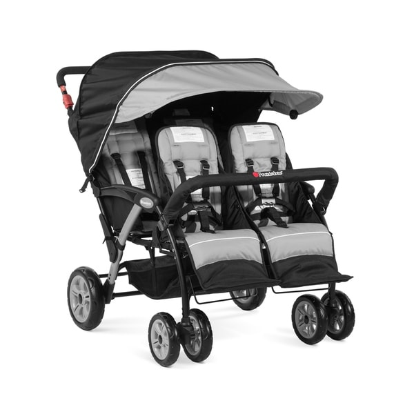 Foundations Quad Sport 4-passenger Stroller - Gray/Black