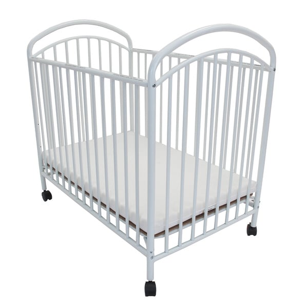 Classic Arched Compact White Metal Non Folding Crib Free