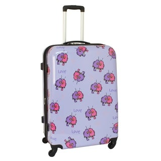 Ed Heck Purple Multi Love Birds 25-inch Hardside Spinner Upright Suitcase