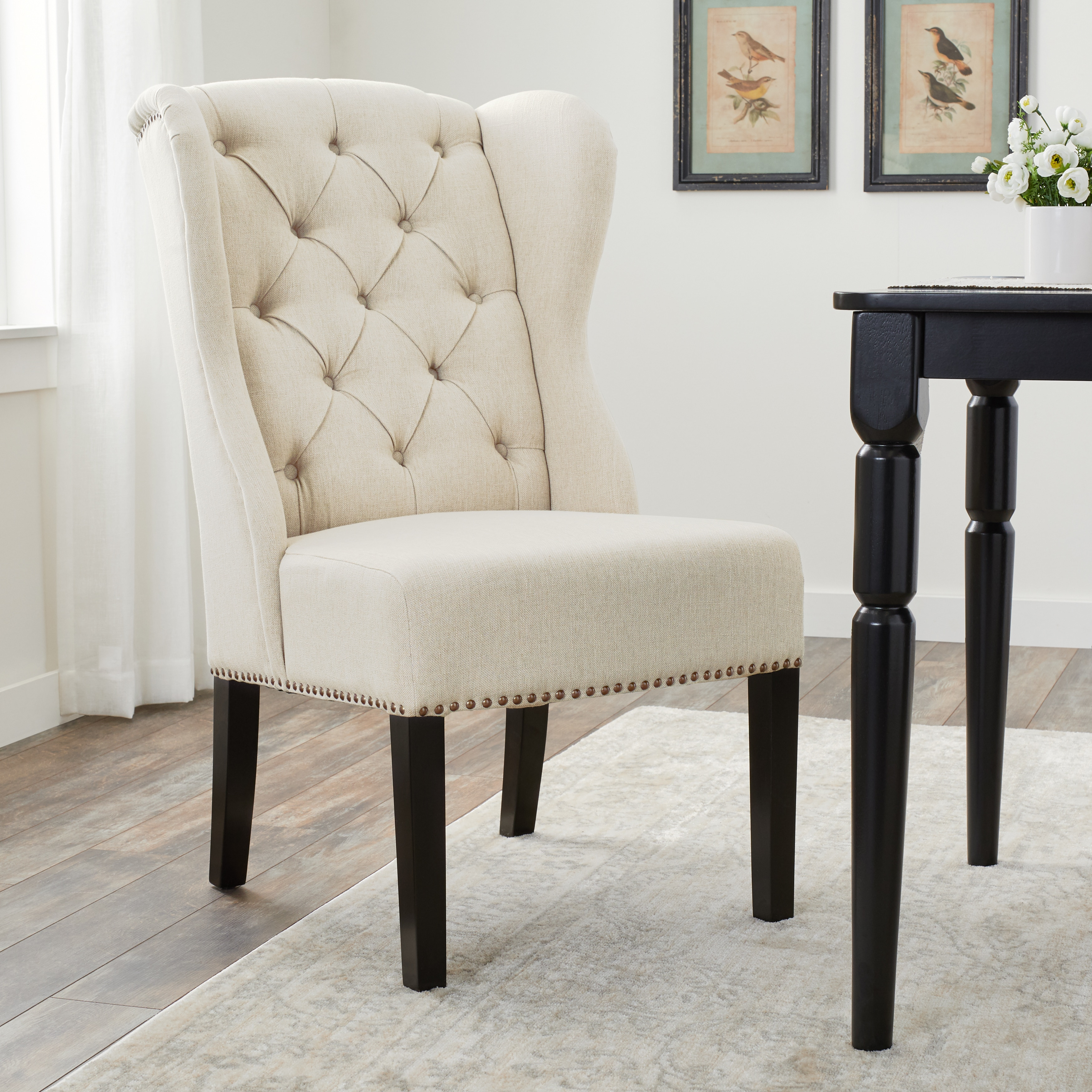 Wondrous Abbyson Sierra Tufted Cream Linen Wingback Dining Chair Pabps2019 Chair Design Images Pabps2019Com