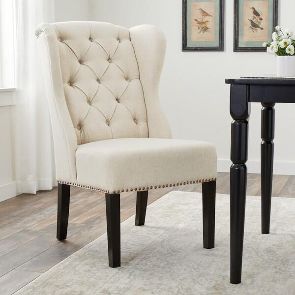 Abbyson Sierra Tufted Cream Linen Wingback Dining Chair