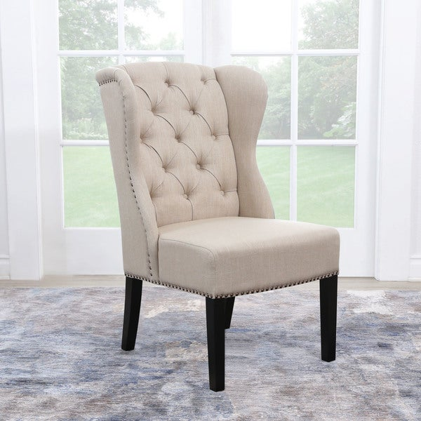 Abbyson Sierra Tufted Cream Linen Wingback Dining Chair. Opens flyout.