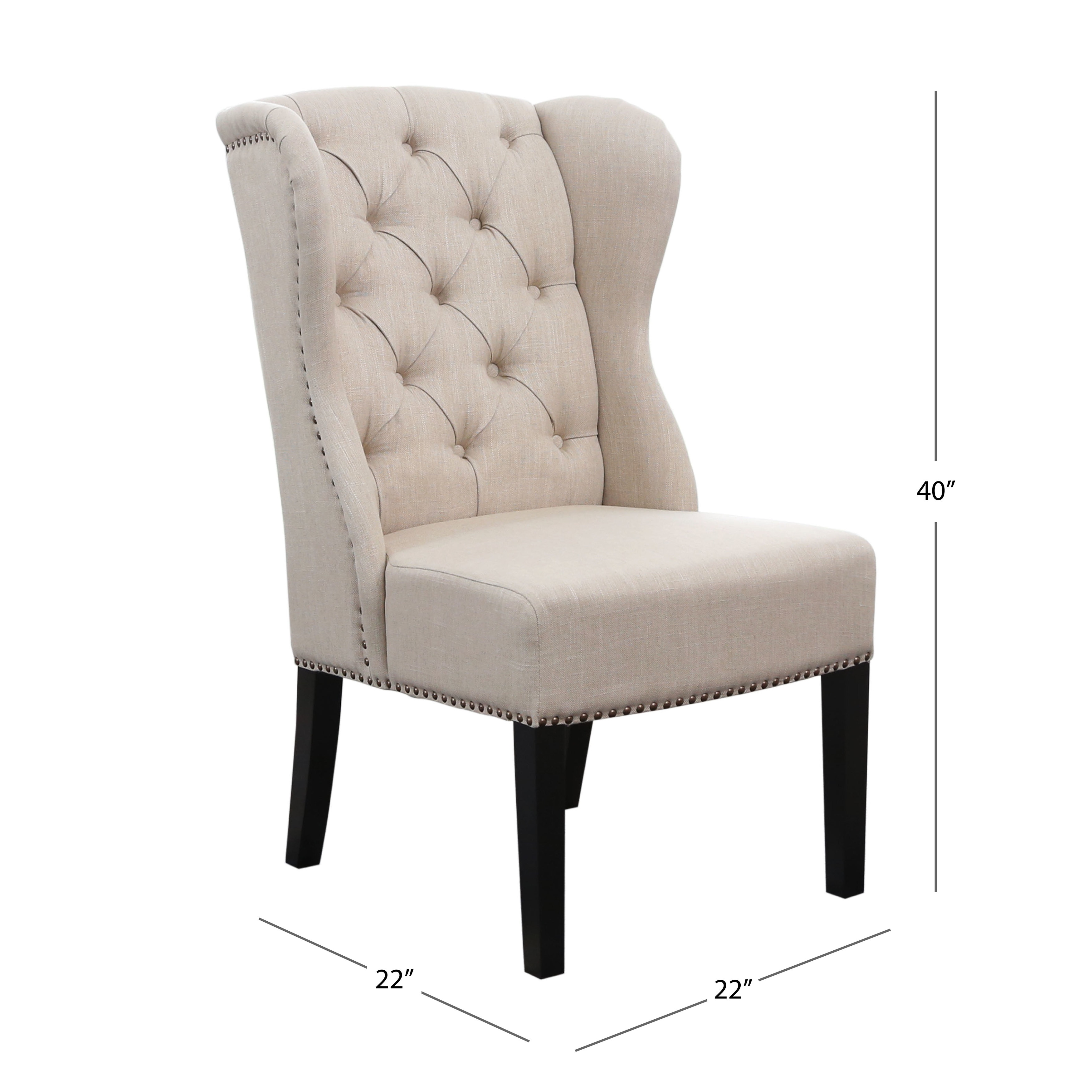 Abbyson Sierra Tufted Cream Linen Wingback Dining Chair On Sale Overstock 9554849