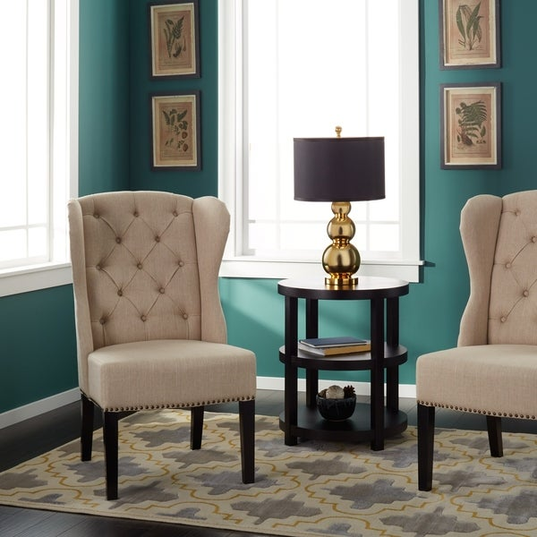 Cream Dining Room Chairs: Abbyson Sierra Tufted Cream Linen Wingback Dining Chair