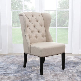 Abbyson Sierra Tufted Cream Linen Wingback Dining Chair