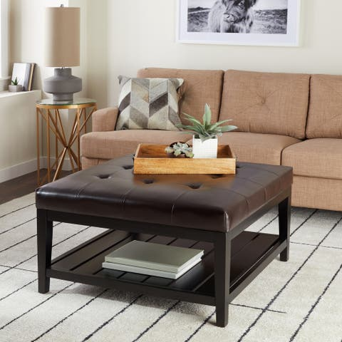 Abbyson Manchester Brown Bonded Leather Square Coffee Table Ottoman