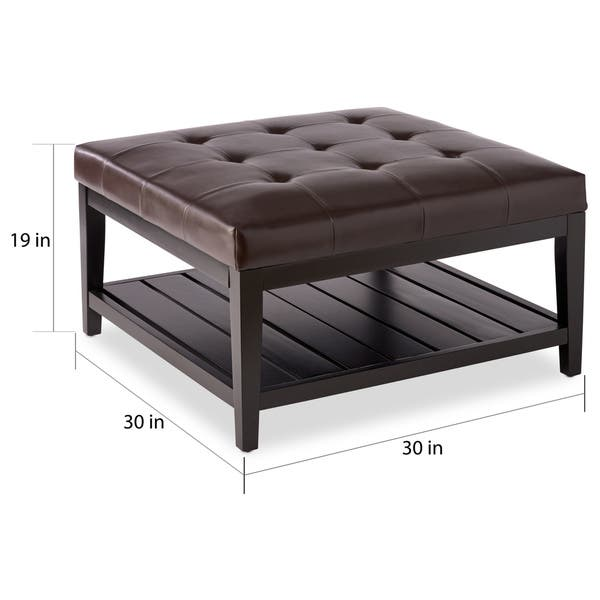 Shop Abbyson Manchester Brown Bonded Leather Square Coffee Table