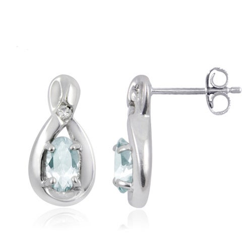 Silver Aquamarine Gemstone And White Diamond Accent Earrings