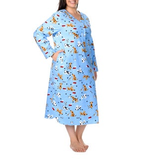 La Cera Women's Plus Size Dog Print Pullover Gown