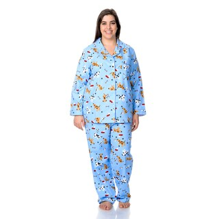 La Cera Women's Plus Size Dog Print Pajama Set