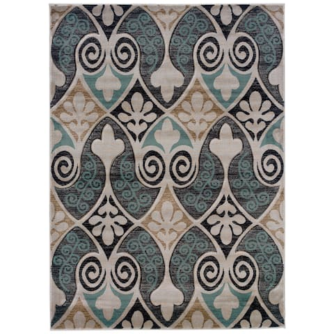 Linon Milan Collection Black/ Turquoise Area Rug
