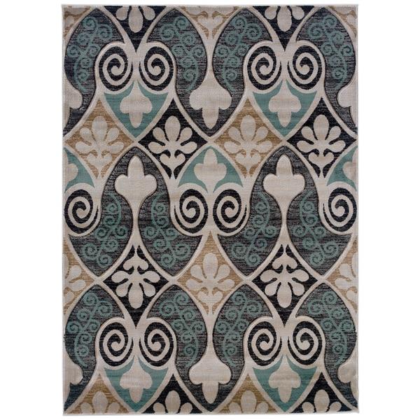 Shop Linon Moroccan Mekenes Camel Brown Rug: Shop Linon Milan Collection Black/ Turquoise Area Rug (5