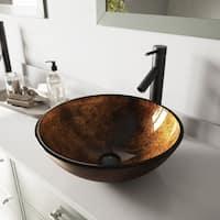 VIGO Russet Glass Vessel Bathroom Sink Set with Dior Faucet