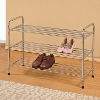 Chrome Finish 3-tier Metal Utility Shoe Rack