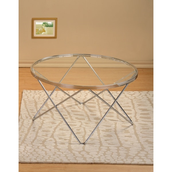 Modern Round Glass And Chrome Coffee Table: Shop Modern Chrome And Glass Round Cocktail Coffee Table
