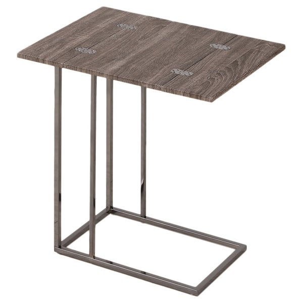 Superb Weathered Grey Finish Expandable Side End Table   Free Shipping Today    Overstock.com   16735918