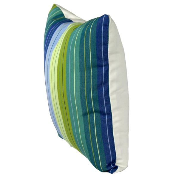Sunbrella 2-sided Reversible Outdoor Seville Seaside and Canvas Natural 14x14 Throw Pillow