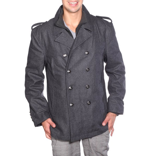 Wilda Men's Military Wool Peacoat - Free Shipping Today ...