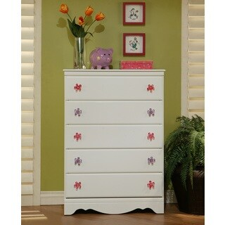 Sandberg Furniture White Dulce 5-drawer Chest with Floral Knobs